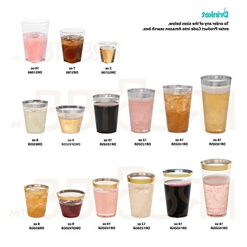 DRINKET Gold 16 Cups / Tumblers Plastic Gold 50 Disposable Holiday and PACK