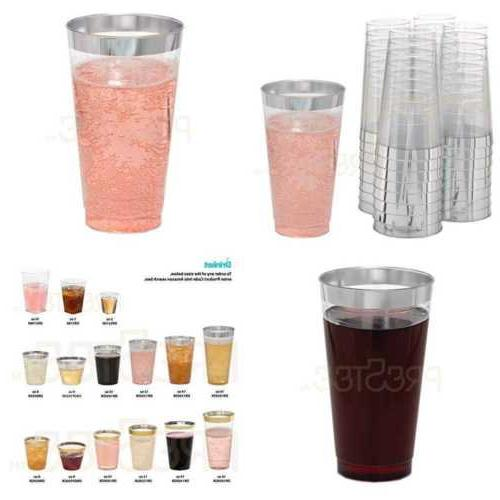 drinket silver plastic cups 16 oz clear