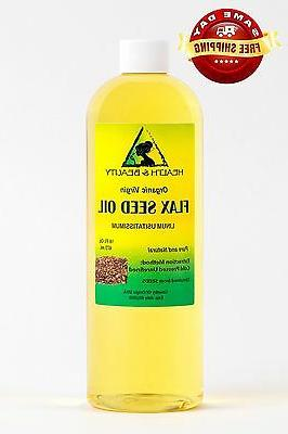 FLAX SEED OIL ORGANIC CARRIER VIRGIN COLD PRESSED PURE 16 OZ