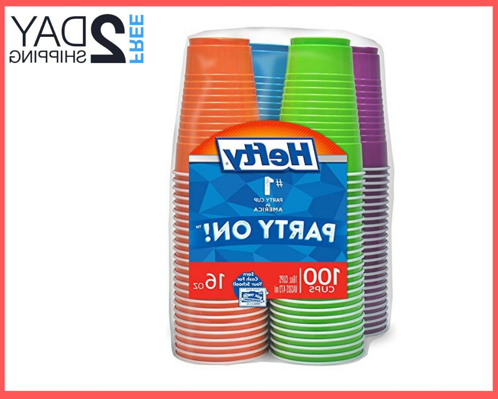 hefty disposable plastic cups in assorted colors