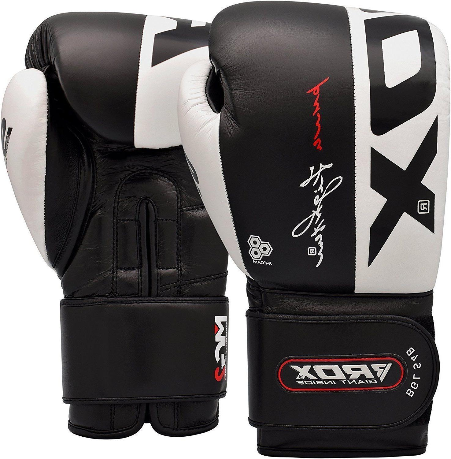 RDX Boxing Gloves Kickboxing Muay Thai Fighting Cowhide Leat