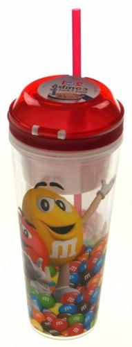 Spoontiques M&M 2 in 1 Combo Snack Drink Cup 16 Oz Flip Top
