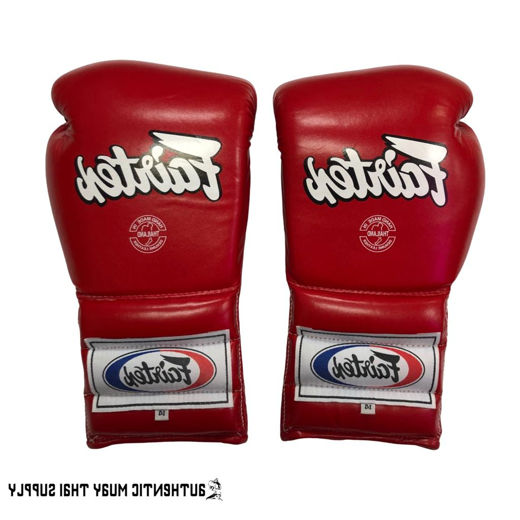 FAIRTEX MUAY THAI BOXING GLOVES BGL7 BLACK RED MEXICAN LACE UP