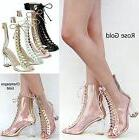 New Women FC45 Rose Gold Peep Toe Lucite Clear Heel  Lace Up