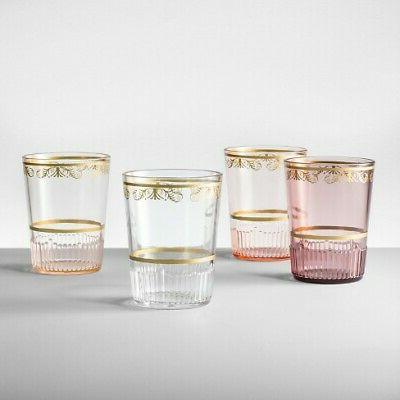 plastic tumblers 16oz pink set of 4