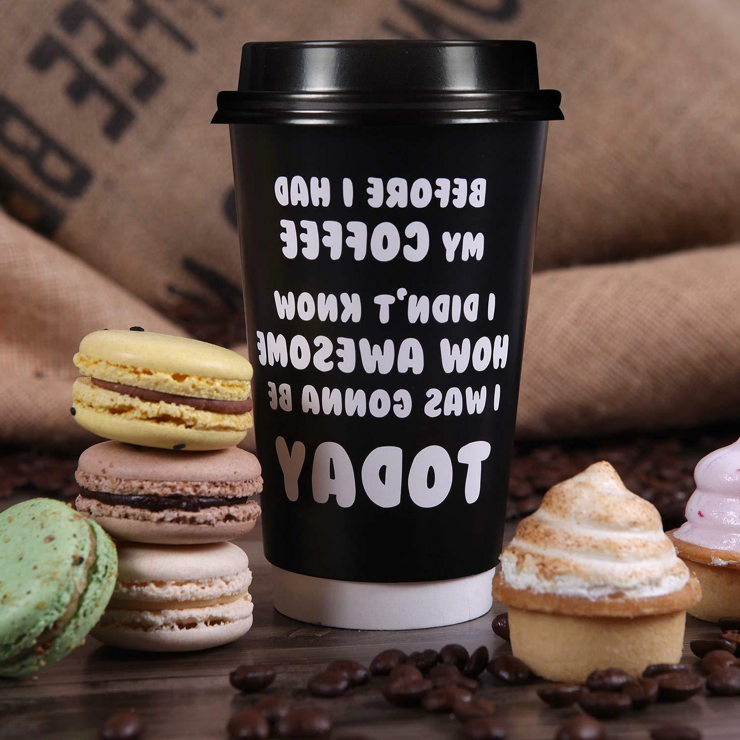 Premium 16oz Disposable Coffee Cups With - 5 Fun