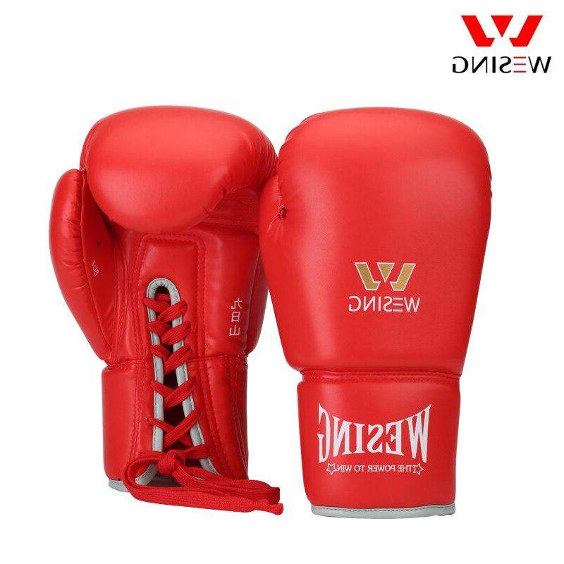 Wesing Tied Boxing Gloves with Large Size Leather Boxing <font><b>16</b></font>