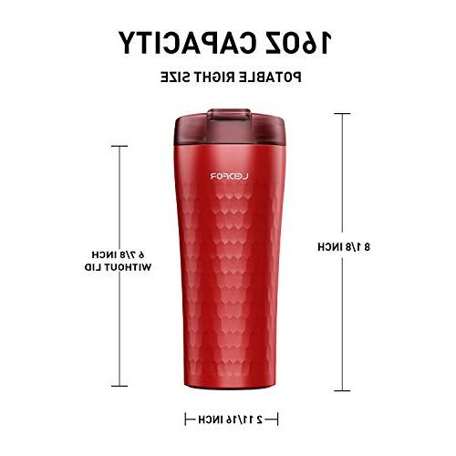 Leidfor Insulated Coffee Tumbler Thermos Leakproof 16 Ounce Red