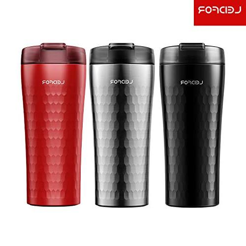 Leidfor Stainless Steel Insulated Travel Mug Tumbler With Leakproof Red