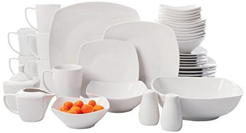 White Square Gibson Home Zen Buffetware 39 Piece Porcelain Dinnerware Set Service for 6 with Serveware