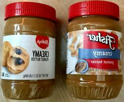 Lot of 2, Creamy Peanut Butter, Kosher, 18 oz & 16 oz