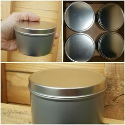 Lot of 4 @ 16OZ Seamless Aluminum Tins for Spice, Candles, T