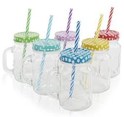 Mason Drinking Jar with Handle Straws Glass and Stainless St