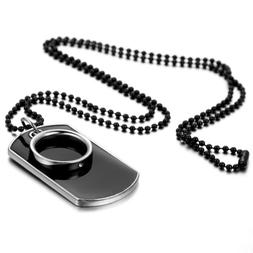 Men's Stainless Steel Black Ring Dog Tag Pendant Necklace w