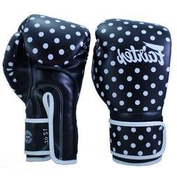 FAIRTEX MUAY THAI KICK BOXING GLOVES BGV14 BLACK WHITE DOT S