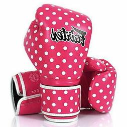 FAIRTEX MUAY THAI KICK BOXING GLOVES Pink Polka Dot NEW USA