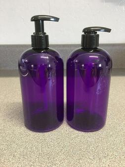 NEW 16 oz Purple PLASTIC Boston Round Bottle with WIDE COMFO
