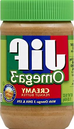 Jif Omega-3 Creamy Peanut Butter, 16 Ounce - 12 Count