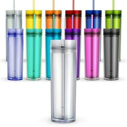One Tall Skinny Tumblers, Acrylic 16 Ounce Tumblers with Str