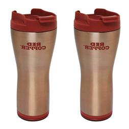 Red Copper Mug 2-Pack Ceramic-Lined Double-Insulated Hot Col