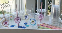 Set of 24- Personalized Baby Shark Birthday Party Cups Lids