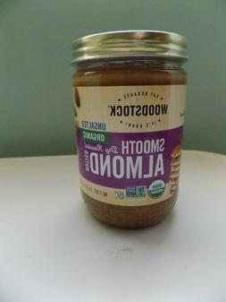 WOODSTOCK SMOOTH DRY ROASTED ALMOND BUTTER, UNSALTED & ORGAN