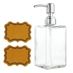 VCOO Soap Dispenser Bottle with Stainless Steel Pump, Refill