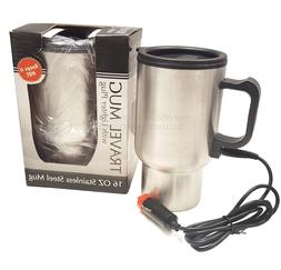 Stainless Steel 16 Oz. Travel Car Mug with Lid & Lighter Plu