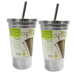 Stainless Steel Tumbler with Straw-  16 oz Hot & Cold Double