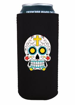 Sugar Skull 16 oz Pint Can Coolie, Choice of Color, Pounder,