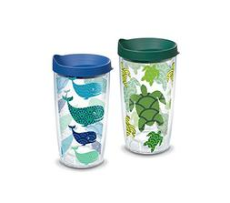 Tervis Turtle Whale Pattern Wrap 16oz Tumbler with Blue & Hu