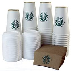 Starbucks White Disposable Hot Paper Cup, 16 Ounce, Sleeves